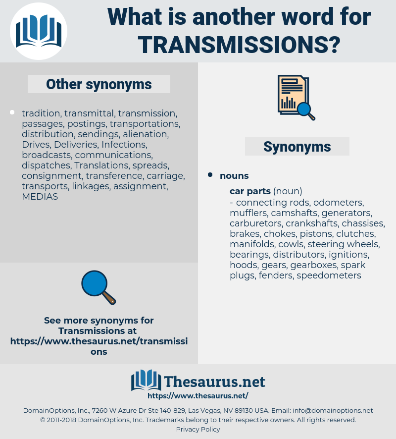 transmissions, synonym transmissions, another word for transmissions, words like transmissions, thesaurus transmissions