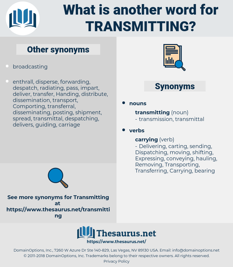 transmitting, synonym transmitting, another word for transmitting, words like transmitting, thesaurus transmitting