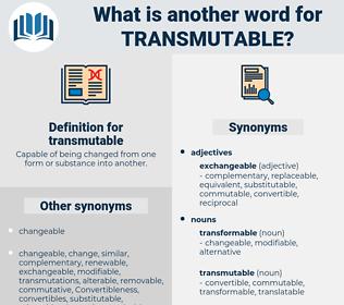 transmutable, synonym transmutable, another word for transmutable, words like transmutable, thesaurus transmutable