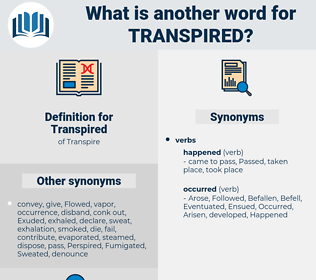 Transpired, synonym Transpired, another word for Transpired, words like Transpired, thesaurus Transpired
