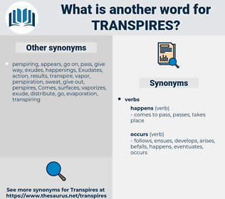transpires, synonym transpires, another word for transpires, words like transpires, thesaurus transpires
