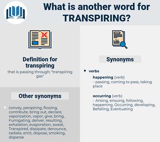 transpiring, synonym transpiring, another word for transpiring, words like transpiring, thesaurus transpiring
