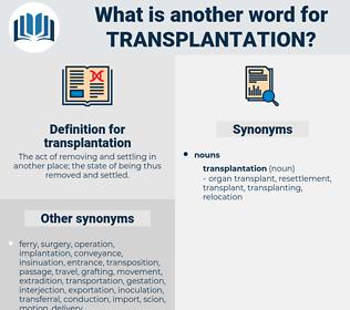 transplantation, synonym transplantation, another word for transplantation, words like transplantation, thesaurus transplantation