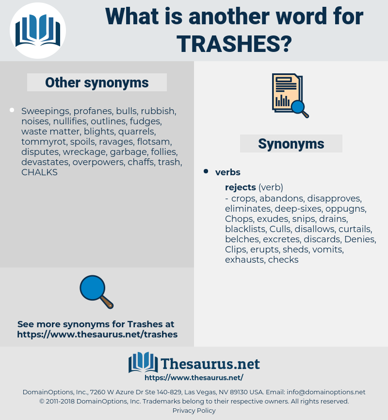 trashes, synonym trashes, another word for trashes, words like trashes, thesaurus trashes