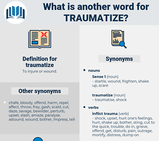 traumatize, synonym traumatize, another word for traumatize, words like traumatize, thesaurus traumatize