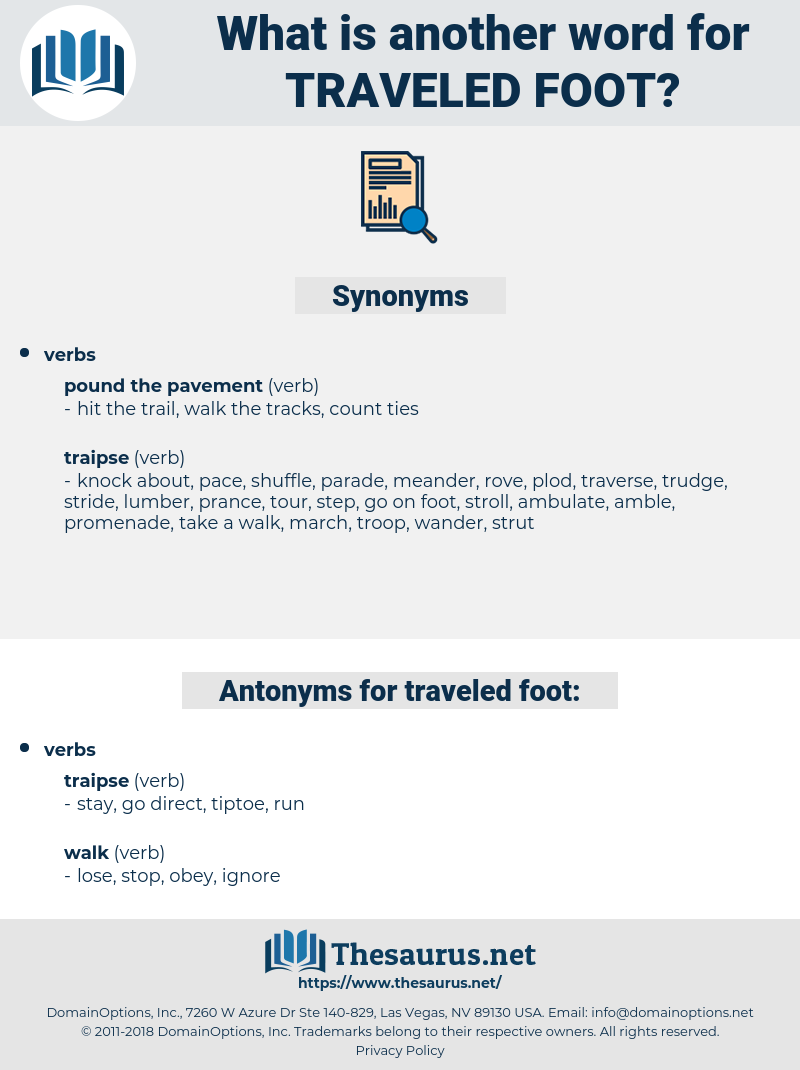 traveled foot, synonym traveled foot, another word for traveled foot, words like traveled foot, thesaurus traveled foot