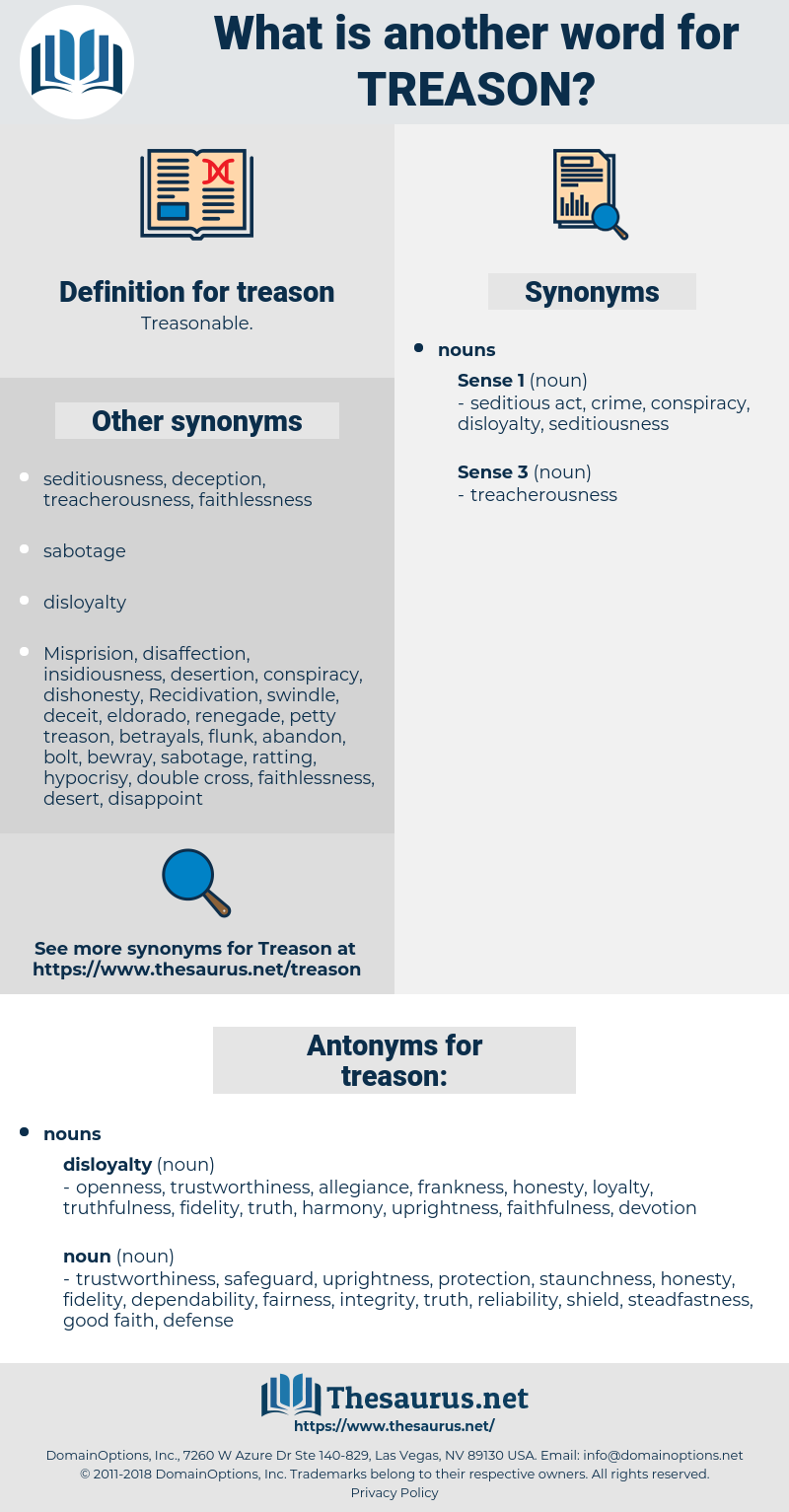 Synonyms for TREASON, Antonyms for TREASON - Thesaurus net