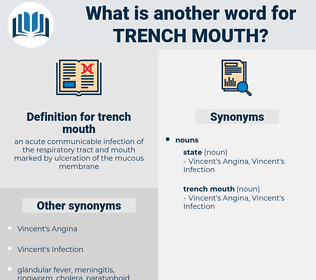 trench mouth, synonym trench mouth, another word for trench mouth, words like trench mouth, thesaurus trench mouth