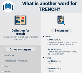 trench, synonym trench, another word for trench, words like trench, thesaurus trench