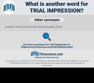 trial impression, synonym trial impression, another word for trial impression, words like trial impression, thesaurus trial impression