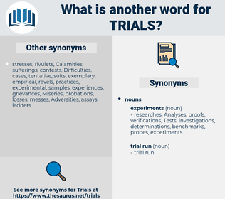 trials, synonym trials, another word for trials, words like trials, thesaurus trials