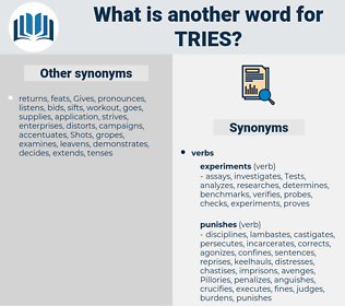 tries, synonym tries, another word for tries, words like tries, thesaurus tries