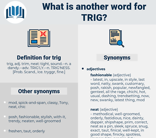 trig, synonym trig, another word for trig, words like trig, thesaurus trig