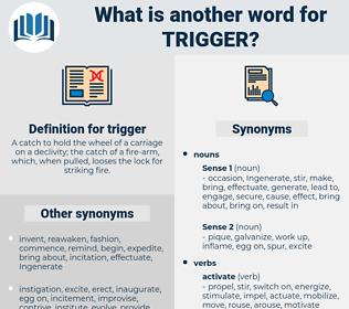 trigger, synonym trigger, another word for trigger, words like trigger, thesaurus trigger