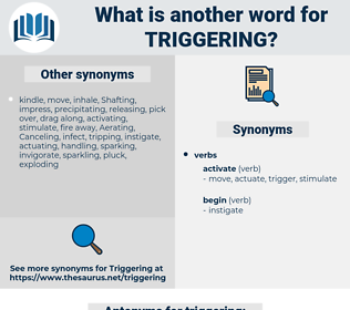 triggering, synonym triggering, another word for triggering, words like triggering, thesaurus triggering