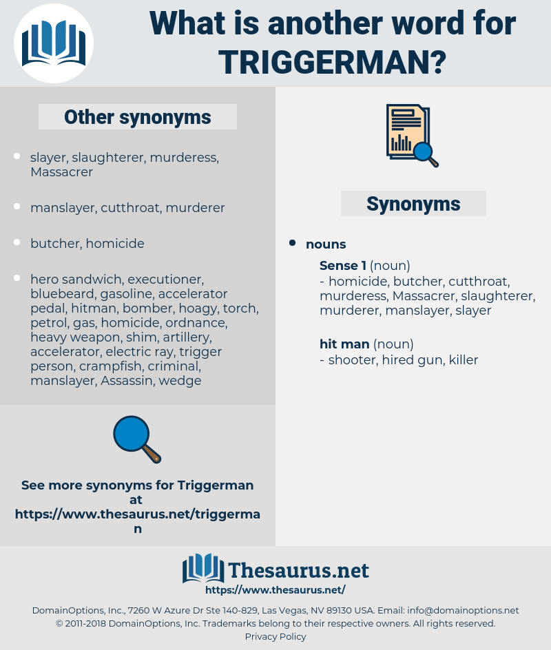 triggerman, synonym triggerman, another word for triggerman, words like triggerman, thesaurus triggerman