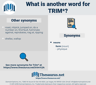 trim, synonym trim, another word for trim, words like trim, thesaurus trim