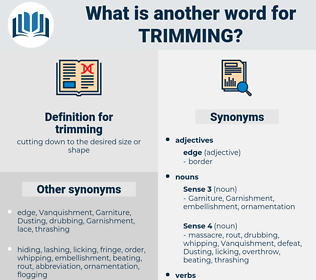 trimming, synonym trimming, another word for trimming, words like trimming, thesaurus trimming