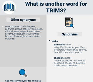 trims, synonym trims, another word for trims, words like trims, thesaurus trims