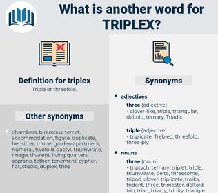 triplex, synonym triplex, another word for triplex, words like triplex, thesaurus triplex