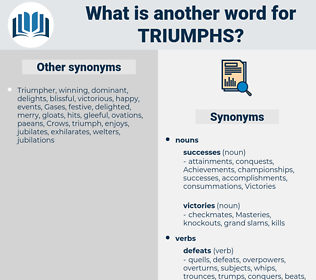 triumphs, synonym triumphs, another word for triumphs, words like triumphs, thesaurus triumphs