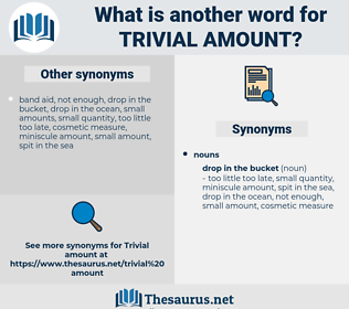 trivial amount, synonym trivial amount, another word for trivial amount, words like trivial amount, thesaurus trivial amount