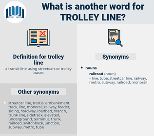 trolley line, synonym trolley line, another word for trolley line, words like trolley line, thesaurus trolley line