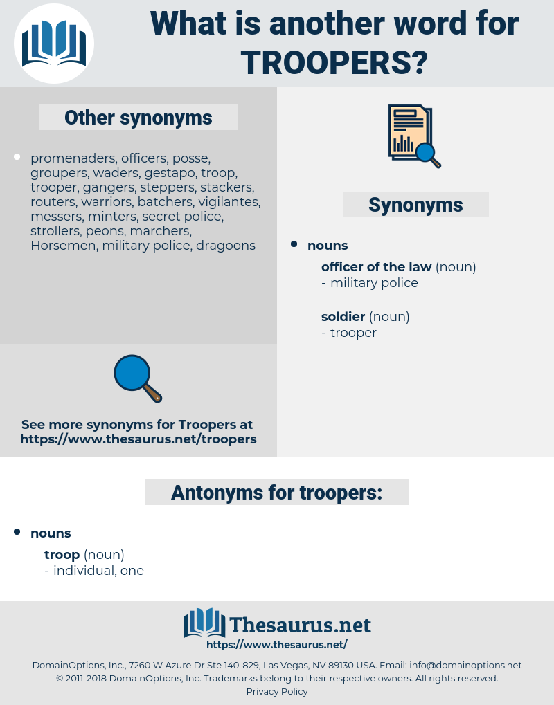 troopers, synonym troopers, another word for troopers, words like troopers, thesaurus troopers