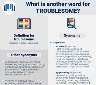troublesome, synonym troublesome, another word for troublesome, words like troublesome, thesaurus troublesome