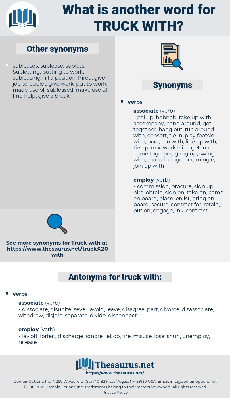 truck with, synonym truck with, another word for truck with, words like truck with, thesaurus truck with