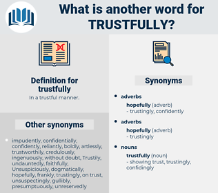 trustfully, synonym trustfully, another word for trustfully, words like trustfully, thesaurus trustfully