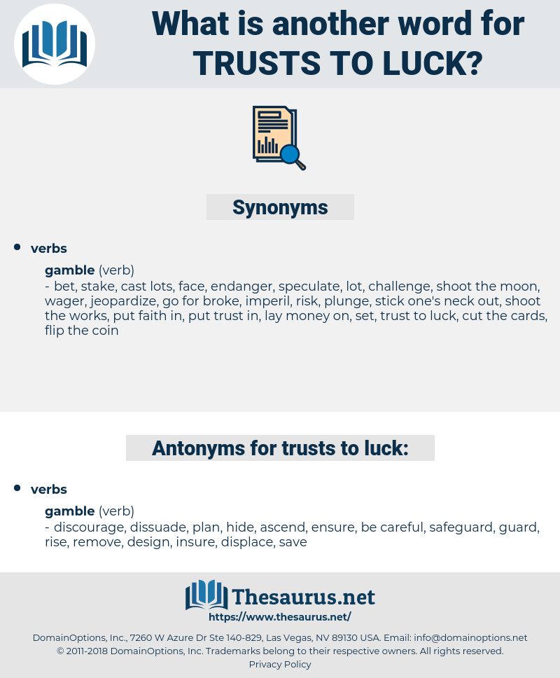 trusts to luck, synonym trusts to luck, another word for trusts to luck, words like trusts to luck, thesaurus trusts to luck