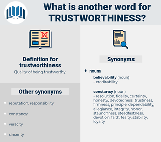 trustworthiness, synonym trustworthiness, another word for trustworthiness, words like trustworthiness, thesaurus trustworthiness