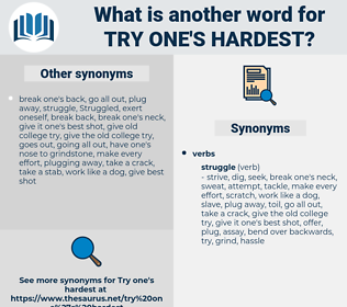 try one's hardest, synonym try one's hardest, another word for try one's hardest, words like try one's hardest, thesaurus try one's hardest