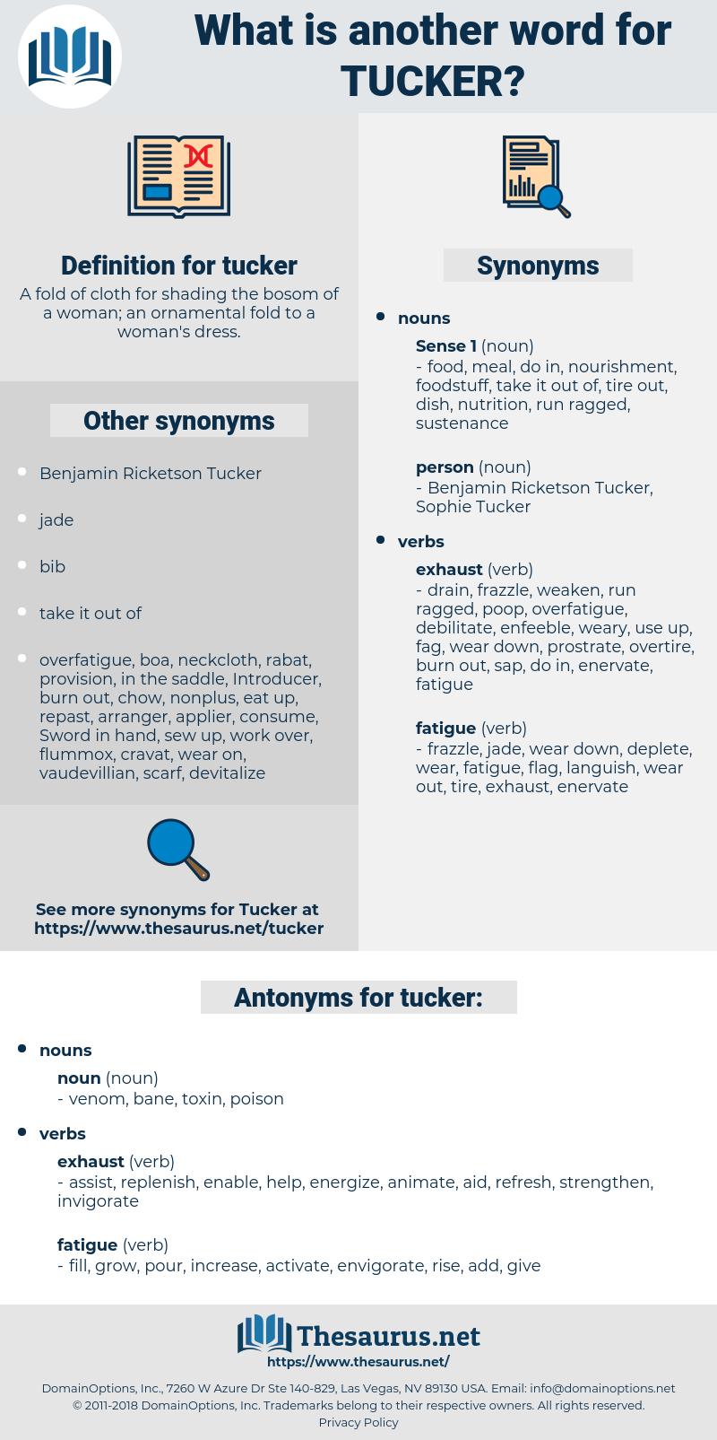 tucker, synonym tucker, another word for tucker, words like tucker, thesaurus tucker