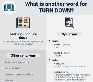 turn down, synonym turn down, another word for turn down, words like turn down, thesaurus turn down