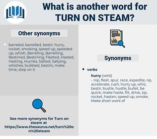 turn on steam, synonym turn on steam, another word for turn on steam, words like turn on steam, thesaurus turn on steam