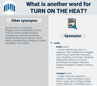 turn on the heat, synonym turn on the heat, another word for turn on the heat, words like turn on the heat, thesaurus turn on the heat