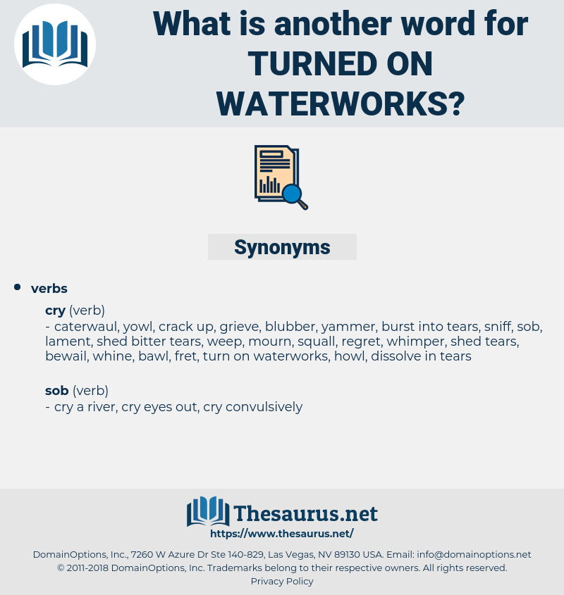 turned on waterworks, synonym turned on waterworks, another word for turned on waterworks, words like turned on waterworks, thesaurus turned on waterworks