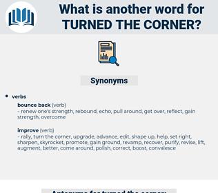 turned the corner, synonym turned the corner, another word for turned the corner, words like turned the corner, thesaurus turned the corner