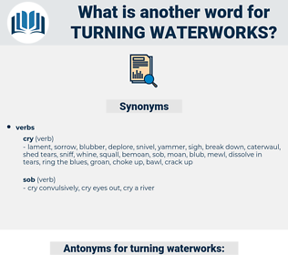 turning waterworks, synonym turning waterworks, another word for turning waterworks, words like turning waterworks, thesaurus turning waterworks