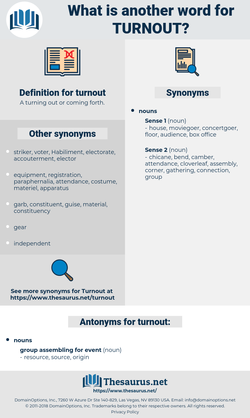 turnout, synonym turnout, another word for turnout, words like turnout, thesaurus turnout