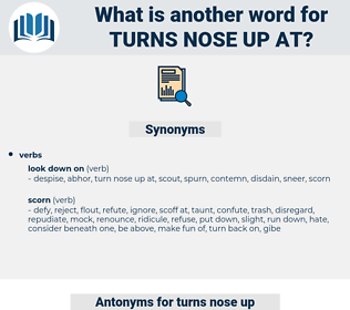 turns nose up at, synonym turns nose up at, another word for turns nose up at, words like turns nose up at, thesaurus turns nose up at