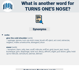 turns one's nose, synonym turns one's nose, another word for turns one's nose, words like turns one's nose, thesaurus turns one's nose