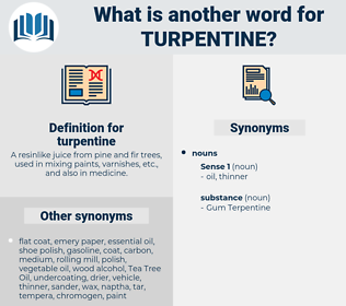 Synonyms for TURPENTINE - Thesaurus net