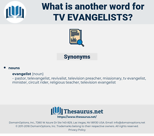 tv evangelists, synonym tv evangelists, another word for tv evangelists, words like tv evangelists, thesaurus tv evangelists