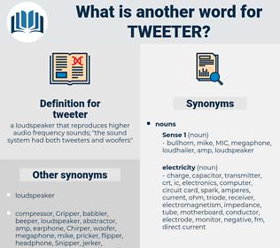 tweeter, synonym tweeter, another word for tweeter, words like tweeter, thesaurus tweeter