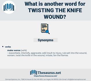 twisting the knife wound, synonym twisting the knife wound, another word for twisting the knife wound, words like twisting the knife wound, thesaurus twisting the knife wound