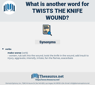 twists the knife wound, synonym twists the knife wound, another word for twists the knife wound, words like twists the knife wound, thesaurus twists the knife wound