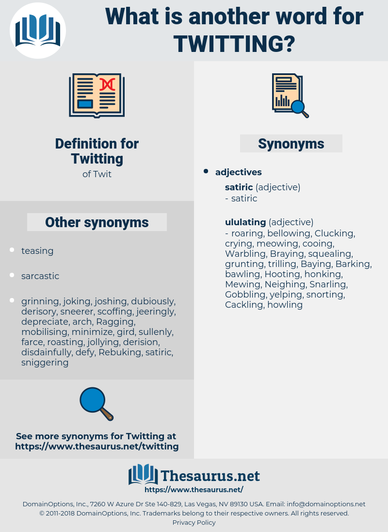 Twitting, synonym Twitting, another word for Twitting, words like Twitting, thesaurus Twitting